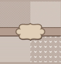 set four simple textures and vintage ribbon vector image