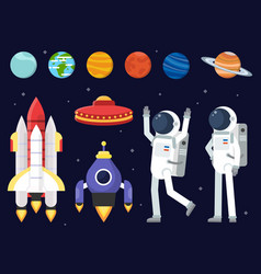 Set of planets space shuttles and astronauts in vector
