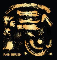 set rusty paint brush ink blots golden vector image