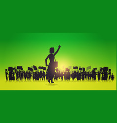 Silhouette woman raising hand over crowd vector