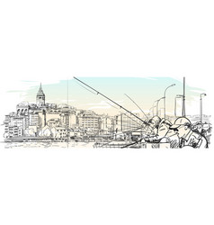 Sketch of istanbul cityscape with fishermen vector
