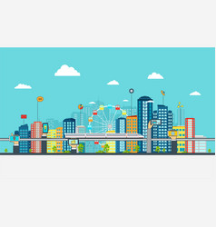 smart city with business signs vector image