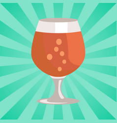 Snifter beer in transparent glassware vector