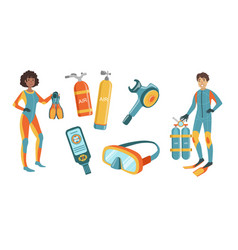 Snorkeling and scuba diving elements set scuba vector