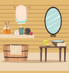spa salon with accessories for relaxation vector image
