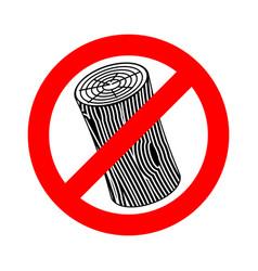 Stop log sign wooden billet ban road red vector