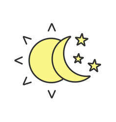 sun and moon with stars color icon vector image