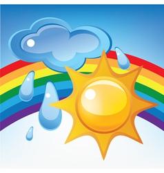 sun cloud rain and rainbow vector image