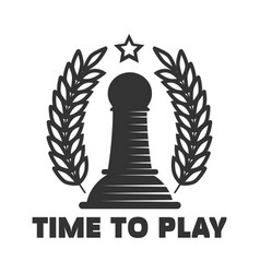 time to play chess club emblem with black pawn vector image