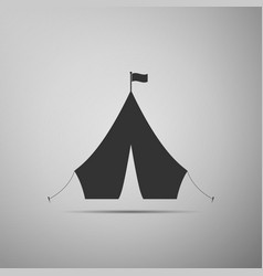 tourist tent with flag icon on grey background vector image