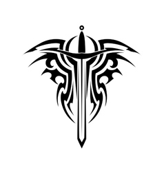 Tribal tattoo with medieval sword vector image