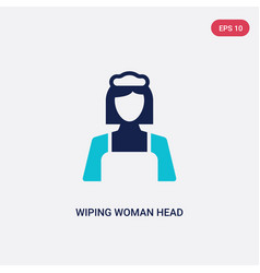 Two color wiping woman head icon from cleaning vector