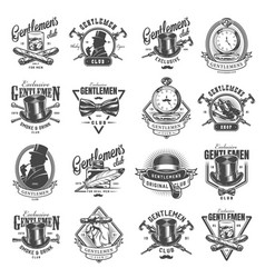 Vintage monochrome gentleman logos set vector