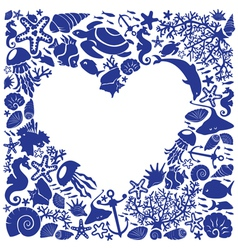 White background heart is surrounded of marine li vector