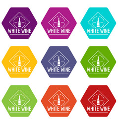 wine icons set 9 vector image