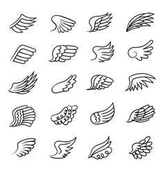 wings drawing air symbols angel feather fly vector image