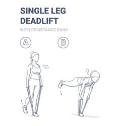 Woman doing single leg deadlift home workout vector