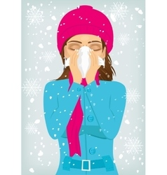 Woman suffering influenza and runny nose vector