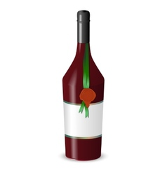 Bottle of wine with a wax seal isolated on white vector image