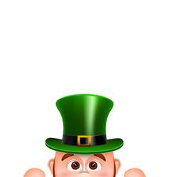cartoon leprechaun in a green hat card for saint vector image vector image