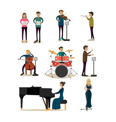 flat icons set of symphony orchestra people vector image