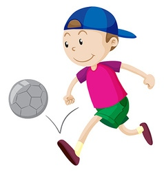 Little boy playing football vector image vector image