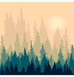 landscape with silhouettes of fir-trees vector image