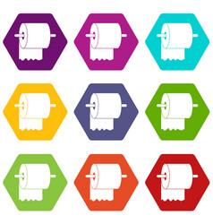 roll of toilet paper on holder icon set color vector image vector image