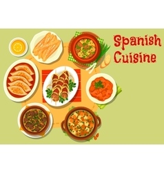Spanish cuisine rich meat dishes icon vector