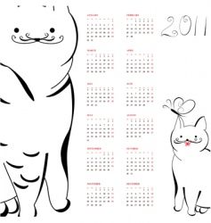 calendar with cats for 2011 vector image