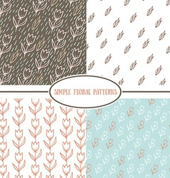 Collection of simple floral patterns vector image