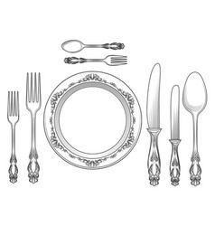 engraving cutlery and dinner plates vector image vector image
