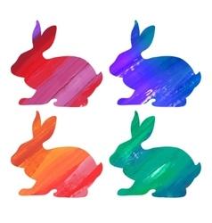 Ester color bunny set Acrylic vector image vector image