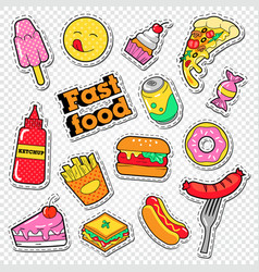 fast food stickers badges and patches with burger vector image