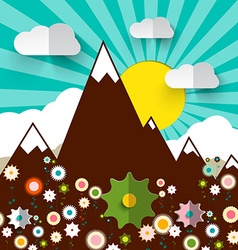 Mountains with Flowers Retro Flat Design vector image vector image
