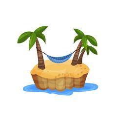 tropical island and hammock among palm trees vector image