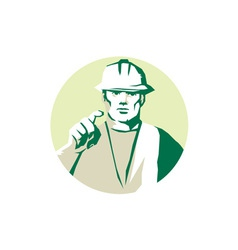 Builder Construction Worker Pointing Finger vector image vector image