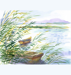 Watercolor of rural landscape with vector