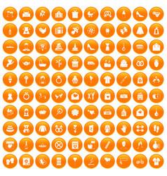 100 woman happy icons set orange vector