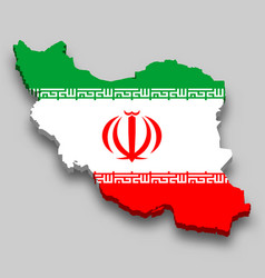 3d isometric map iran with national flag vector