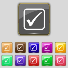 A check mark icon sign Set with eleven colored vector image