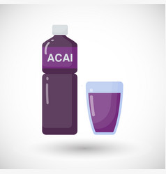 acai berries juice flat icon vector image