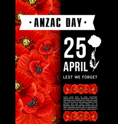 Anzac day australian memory red poppy card vector