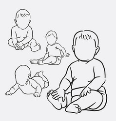 Baby action hand drawing style vector