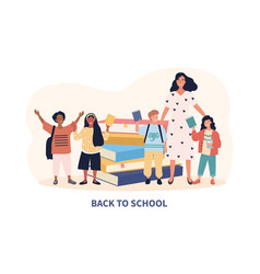 back to school concept with teacher and kids vector image