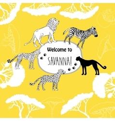 Background with savanna animals vector