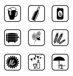 Beer icons on white background vector