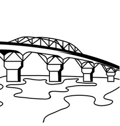 black and white bridge vector image