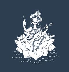 black and white happy vasant panchami saraswati vector image