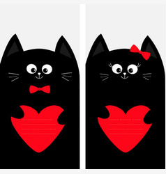 Black cat kitty family holding red heart shape vector
